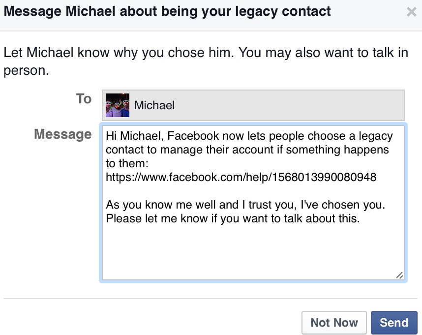Facebook legacy message