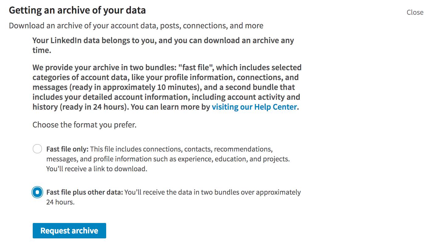 linkedin data download