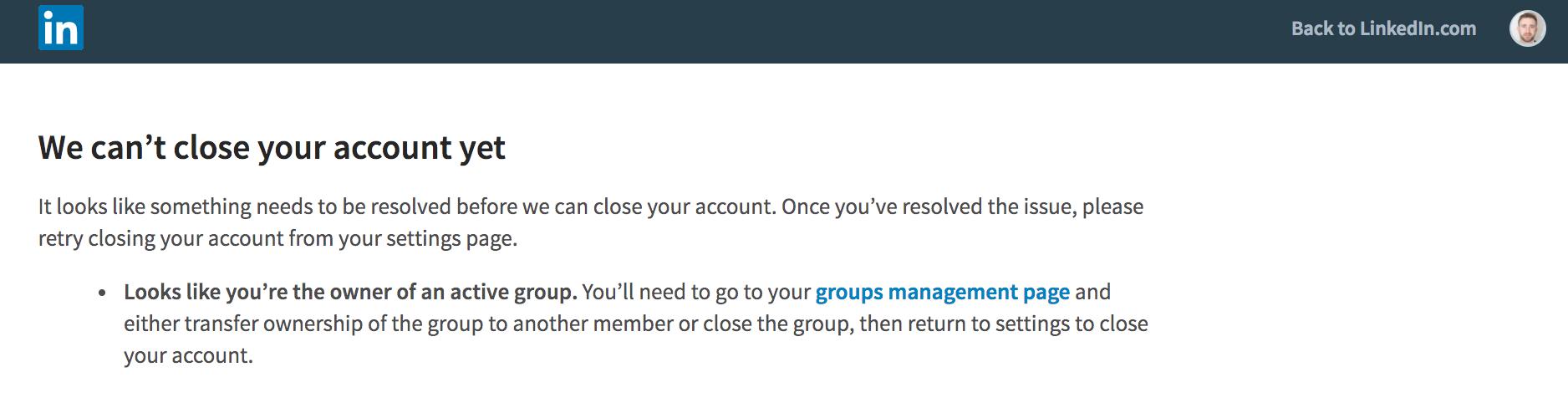 Linkedin close account upon death