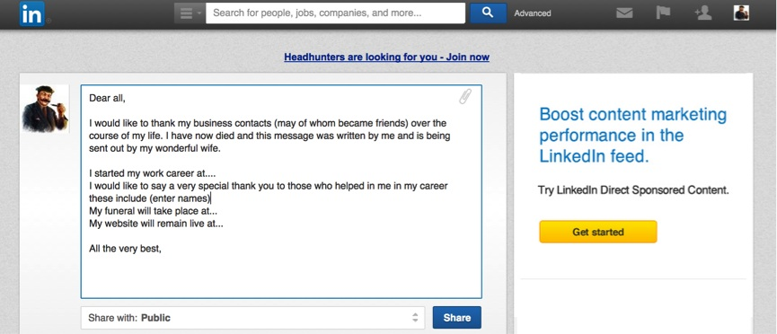 Linkedin goodbye message