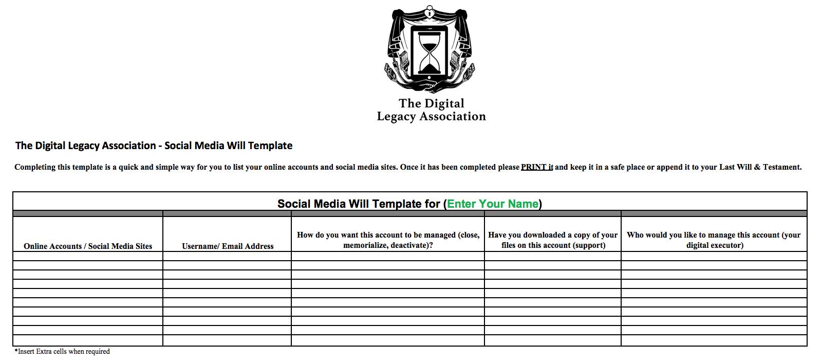 Digital Legacy Association - Social Media Will